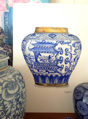 Blue and White Chinamen Painting
