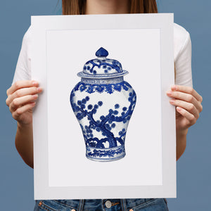Print of Blue and white swallow tail ginger jar