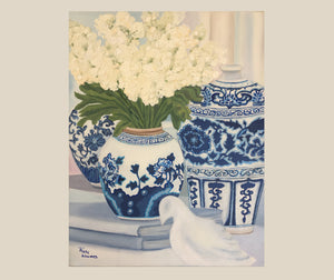 Original Oil painting blue and white vignette with Dove