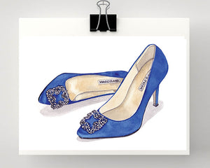 Print of Manolo Blahnik 'Something Blue' Satin Pump.