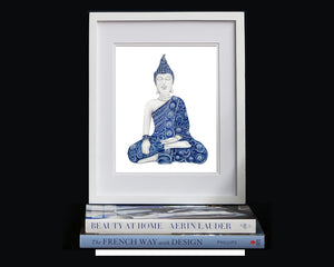 Print of blue and white Buddha meditating in the Earth-Touching pose