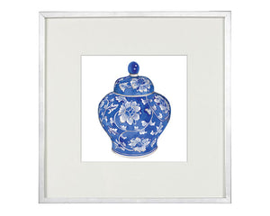 Print of Blue and white Ming china vase with flower print