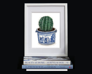 Blue and White 18th century Faience 'Pot a Oranger' holding a cactus