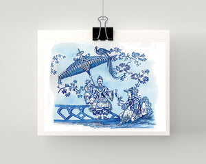 Print of a blue and white print taken from my original painting from an antique Chinoiserie plate