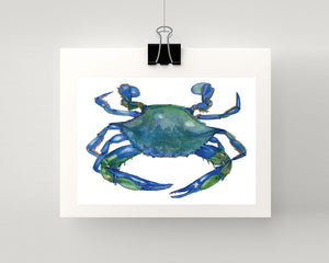Print of crab in blue and green accents