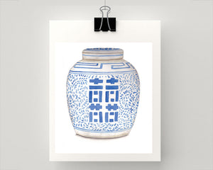 Print of Blue and white double happiness jar