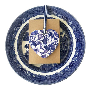 Blue and white ceramic ornament - frangipani design