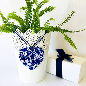 A pair of matching blue and white ceramic ornaments - Frangipani Heart design FH