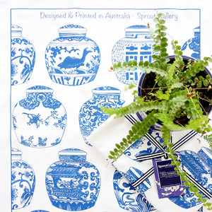 Tea Towel of blue and white ginger jars