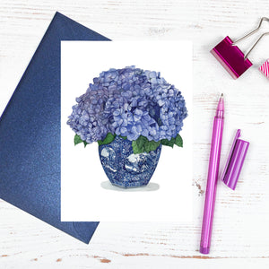 A blue and white chinoiserie vase of hydrangeas greeting card