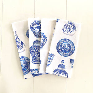 Tea Towel of blue and white ginger jar favourites