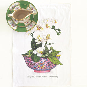 Tea Towel of orchids in pink chinoiserie antique bowl