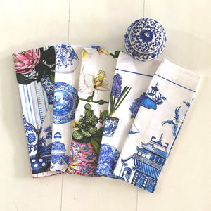 Tea Towel of hydrangeas and hyacinths in blue and white chinoiserie pots