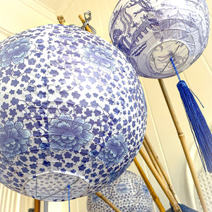 PRE ORDER - Blue and white bespoke paper lantern set of 3
