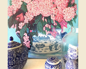 Original oil on canvas pink hydrangeas in blue and white pot