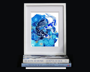 Print of a Blue and white Koi Fish