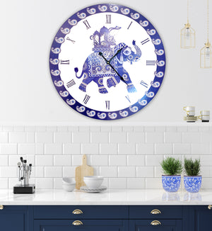 Good luck elephant in blue and white 60cm clock