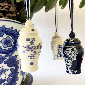 Blue and white miniature chinoiserie ginger jar ornaments. Set of 3.
