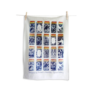Tea Towel of chinoiserie matchboxes