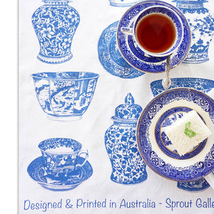 Tea Towel of blue and white favourites