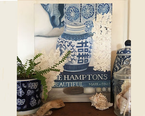 Original Oil painting blue and white beach vignette with coral
