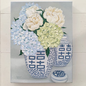 Original Oil painting of blue and white Double Happiness vignette