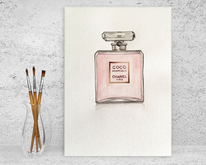 Original Watercolour Painting of  CHANEL COCO MADEMOISELLE perfume bottle