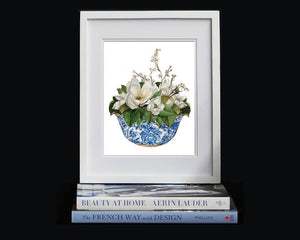 Print of magnolias in a blue and white bowl