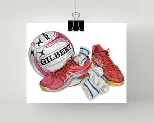 Netball painting print in pink