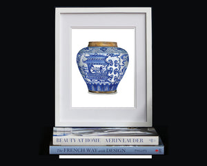 Print of blue and white fat china vase with cute little china men