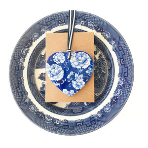 Blue and white ceramic ornament - new peony design