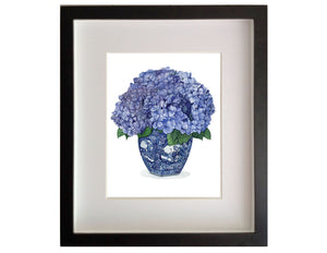 Print of a hydrangeas in blue and white vase