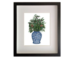 Print of an antique blue and white Delft vase with olive branches