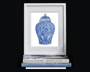 Print of a blue and white 'LADIES' JAR AND COVER QING DYNASTY, KANGXI PERIOD