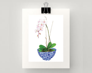 Print of a single pale pink orchids in blue and white chinoiserie bowl