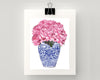 Print of pink peonies in blue and white Chinoiserie vase