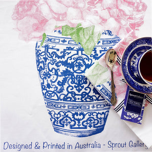 Tea Towel of pink peonies in blue and white ming jar