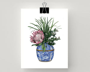 Print of a protea with wattle in a blue and white vase