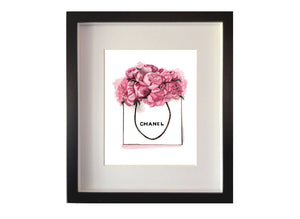 Print of Chanel and pink peonies