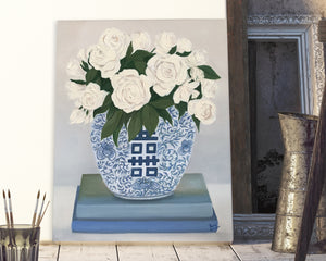 Original Oil painting. White roses in a blue and white 'Double Happiness' jar atop books