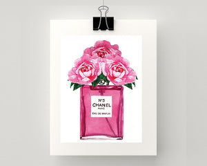 Print of Chanel No 5 perfume with roses