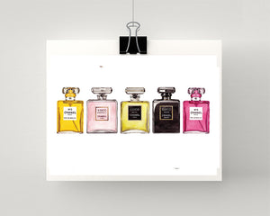 Print of row of Chanel perfumes