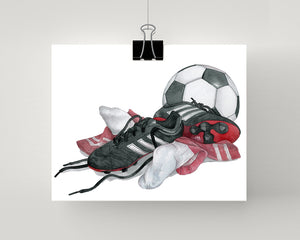 Soccer artwork print with red socks, shoes and ball