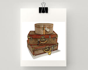 Print of Louis Vuitton suitcase and hat box
