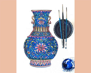 ORIGINAL WATERCOLOUR PAINTING OF INTRICATELY PATTERNED AND RARE YANGCAI BLUE GROUND 'LOTUS' VASE