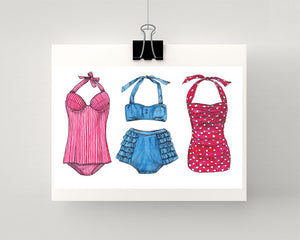 Print of vintage bathing suits 1950s