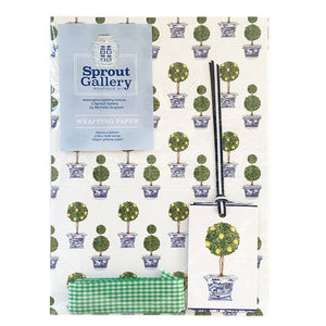 Bespoke blue and white chinoiserie lemon topiary tree designer wrapping kit.