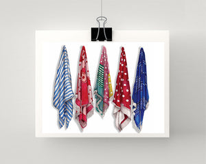 Print of beach towels hanging