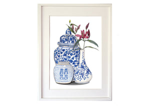 Print of three blue and white chinoiserie ginger jars