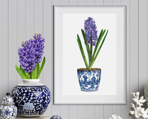 Original Watercolour of purple & blue hyacinth in blue and white chinoiserie pot